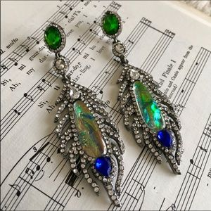 SINGLE Peacock Statement Crystal Dangle Earring